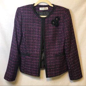 Tahari Purple Shimmer Blazer Chain Detail Size 8P